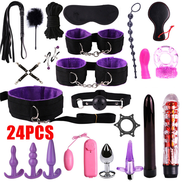 Sex Toys For Couples Handcuffs Whip Nipples Clip Blindfold Mouth Gag Adult Sex Toys Kit BDSM Bondage Toy Flirt Games For Couples