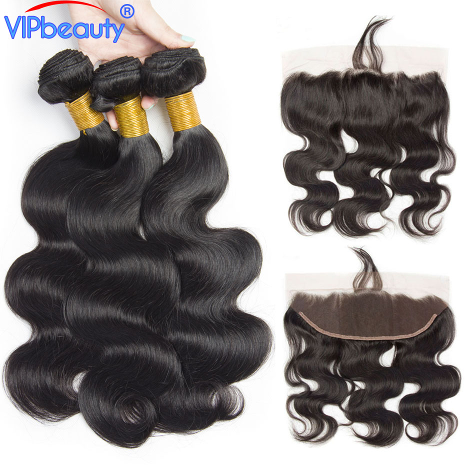 Vip beauty Malaysian Body Wave Non Remy Human Hair Bundles 4pcs lot With Pre Plucked 13x4