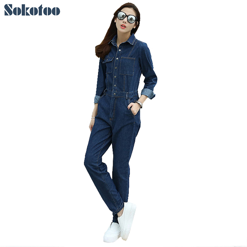 Sokotoo Women's casual loose jumpsuits Pockets denim cargo pants Vintage overalls Elastic waist blue jeans-in Jumpsuits from Women's Clothing    1