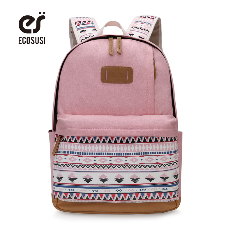 ECOSUSI Canvas Printing Backpack Women Cute School Backpacks for Teenage Girls Vintage Laptop Bag Rucksack Bagpack Female велосипед 3 х колесный moby kids junior 2 светомузыкальная панель синий t300 2blue