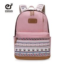 ECOSUSI Canvas Printing Backpack Women Cute School Backpacks for Teenage Girls Vintage Laptop Bag Rucksack Bagpack Female все цены