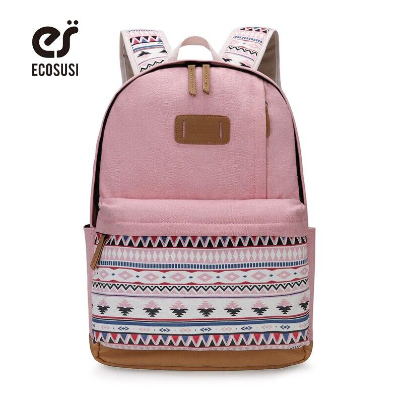 Ecosusi печати холст рюкзак Для женщин милые школьные Рюкзаки для подростков Обувь для девочек Винтаж ноутбук сумка рюкзак женский