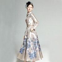 New Spring Women's Retro Lapel Long Sleeve Blue Flower Jacquard Slim Elegant Long Dress Lady Girls Luxury Formal Party Dresses