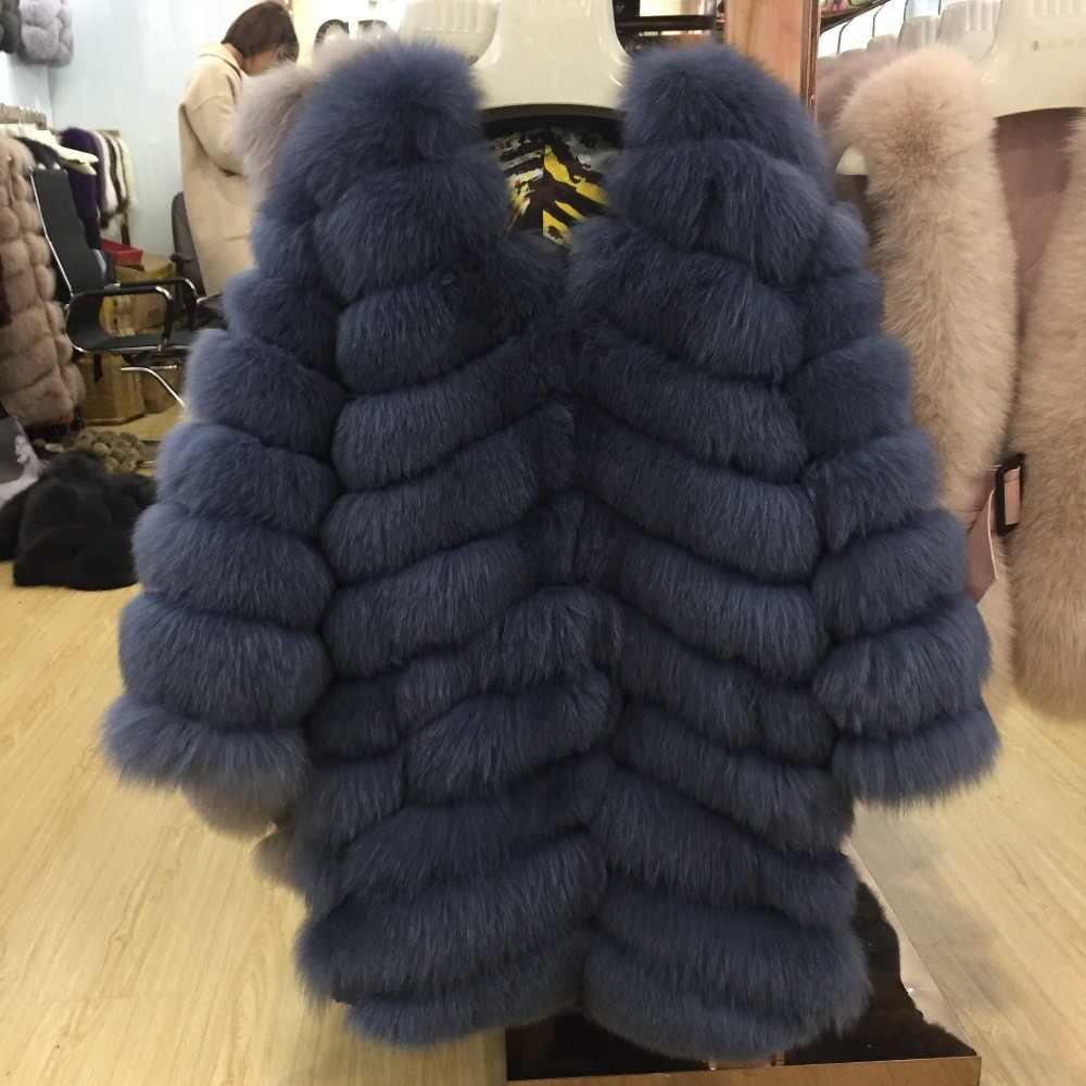 SQXR פרווה נשים אמיתי פרווה מעיל עבה חם נשי טבעי שועל פרווה הלבשה עליונה מעיל ארוך מעיל