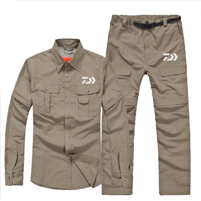 2019 Quick Dry Fishing Clothes Suit Sports Outdoor DAIWA Fishing Clothing Detachable Pants Men Breathable Anti Uv Fishing Shirts