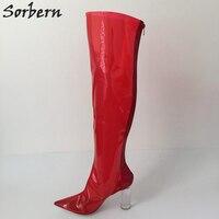 Sorbern/прозрачные сапоги из ПВХ, женские сапоги выше колена, высокие сапоги с острым носком на прозрачном каблуке, обувь по индивидуальному за