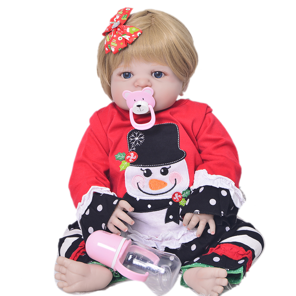 New Design 23'' Reborn Baby Girl Model Full Silicone Vinyl Newborn Baby Doll Realistic Ethnic Reborn Dolls For Sale XMAS Gifts