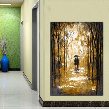 Modern Abstract Wall Art Decor Landscape Canvas Art Wall Picture Pure Handpainted Walk in Yellow Glod Flower Forest Oil Painting