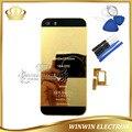 5 unids/lote vivienda puerta de la batería de piezas de repuesto para iphone 5s 24 k oro contraportada chasis con logo + bandeja de tarjeta + botones + herramientas