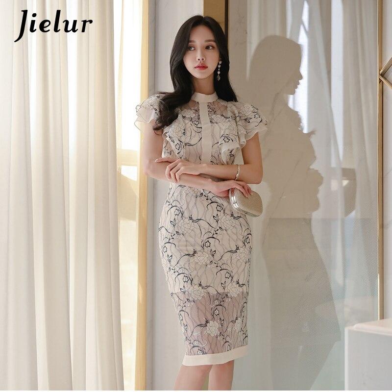 Jielur Vintage Woman Dress Sexy Lace Floral Printed Fashion Chic Satin Korean Vestidos Casual 2019 Summer Elegant