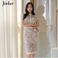 Jielur Vintage Woman Dress Sexy Lace Floral Printed Fashion Chic Satin Korean Vestidos Casual Fashion 2019 Summer Elegant Dress