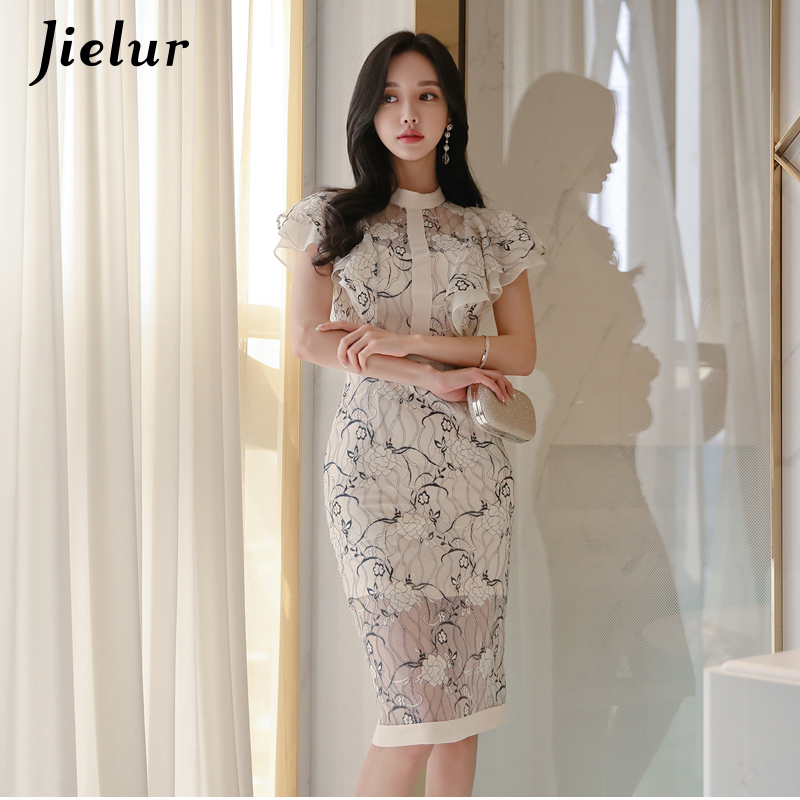 Jielur Vintage Woman <font><b>Dress</b></font> <font><b>Sexy</b></font> <font><b>Lace</b></font> Floral Printed <font><b>Fashion</b></font> Chic Satin Korean Vestidos Casual <font><b>Fashion</b></font> <font><b>2019</b></font> <font><b>Summer</b></font> <font><b>Elegant</b></font> <font><b>Dress</b></font> image