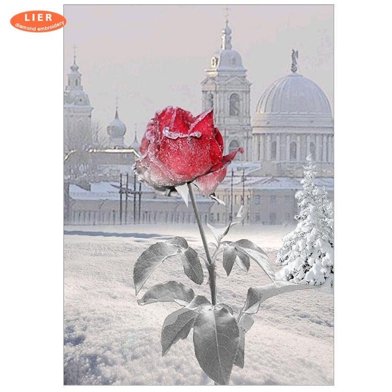 LIER diamond painting winter landscape,diamond embroidery 5d ,diamond mosaic flowers,home decoration