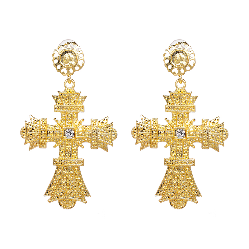 Crystal Cross Drop Earrings 10