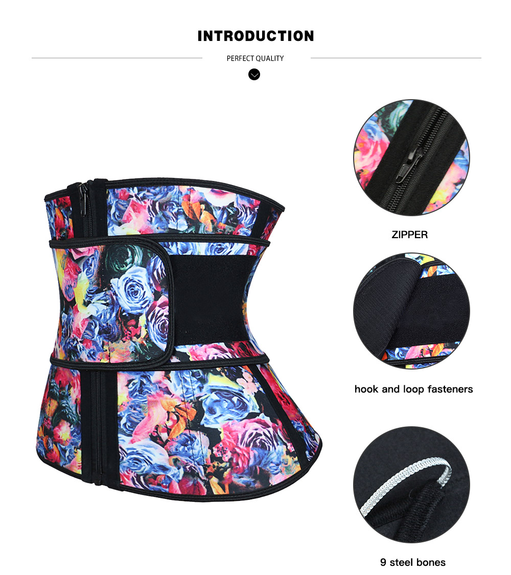 NB1695-2 Atbuty High Compression Waist Trainer Cincher Zipper Rose Printing Tummy Lose Weight Latex Body Shapers Corsets (3)