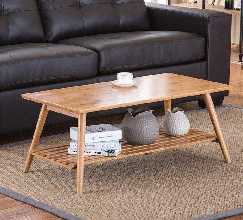 Modern Bamboo Table Legs Foldable Natural Finish Living Room Bamboo Furniture Rectangle Coffee Center Table With Storage Shelf Стол