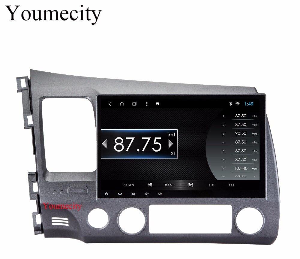 Youmecity 4G Android 8.1 2 DIN 10.1 Octa Core Car dvd Video GPS Navi For Honda Civic 2006-2011 Acura CSX Capacitive screen+wifi fedar зажигания катушка для acura csx 11 06 l4 2 0 л honda accord 07 03 uf311 c1382