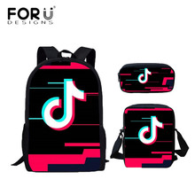 FORUDESIGNS Stylish TIK TOK Printing Students School Bags Kids Schoolbag  Book Bagpack Set Children 3PCS  80b9c5898f3b9