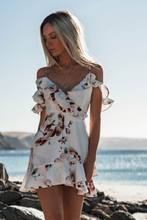 Sleeveless V-Neck Spaghetti Strap Beach Floral Ruffle Tank Mini Casual Dress Women Flying Sleeve Sundress Chiffon(China)