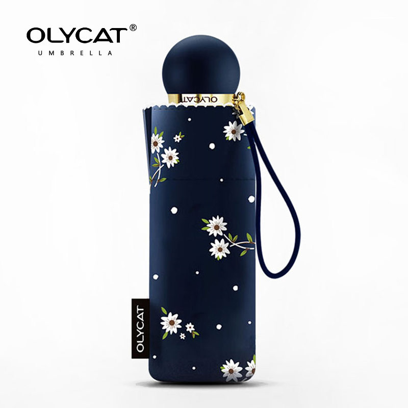 Olycat Mini Çocuklar Şemsiye Güneş Kremi Anti UV Beş Katlanır Dantel Şemsiye Yağmur Kadınlar Çiçekler Moda Güneşlik 6 K Seyahat Şemsiye