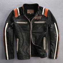 AVIREXFLY Men's Cowhide Leather Jacket Embroidery Skull Vintage Motorcycle Black Jacket Brand Top Quality Coat DHL Free Shipping