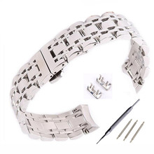 7 beads 16 18 20 22mm Solid 316 Stainless Steel Bracelet strap Watch Bands Strap Parts  Solid Curved End / Arc Degree Interface  все цены