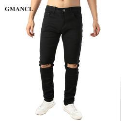 Новые мужские стрейч однотонные черные рваные прямые джинсы рваная уличная одежда мужские колено с дырами, рваные джоггеры джинсовые брюки