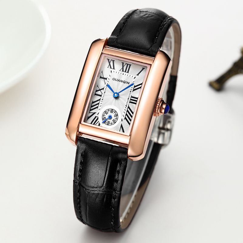 ФОТО 2017 Watch Women GUANQIN Famous Top Brand Luxury Ladies Dress Clock Fashion Casual New Quartz Wrist Watches for Female Leather