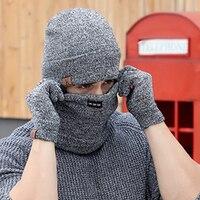 Mùa đông Nắp 3 CÁI Len Dệt Kim Hats Scarf Và Găng Tay Thiết cho Nam Giới Phụ Nữ Beanies Cổ Warmer Nắp Ca-pô Femme Trượt Tuyết Balaclava Mặt mặt n
