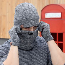 Winter Cap 3 PCS Wool Knitted Hats Scarf And Gloves Set For Men Women Beanies Neck