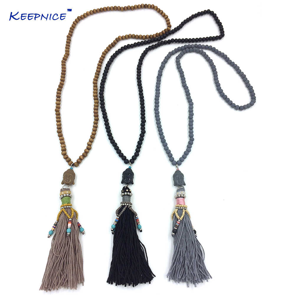 New Handmade 108 rosary wood beaded long necklace leather tassel Buddha pendent necklace tibetan Buddha Buddhism Indian necklace
