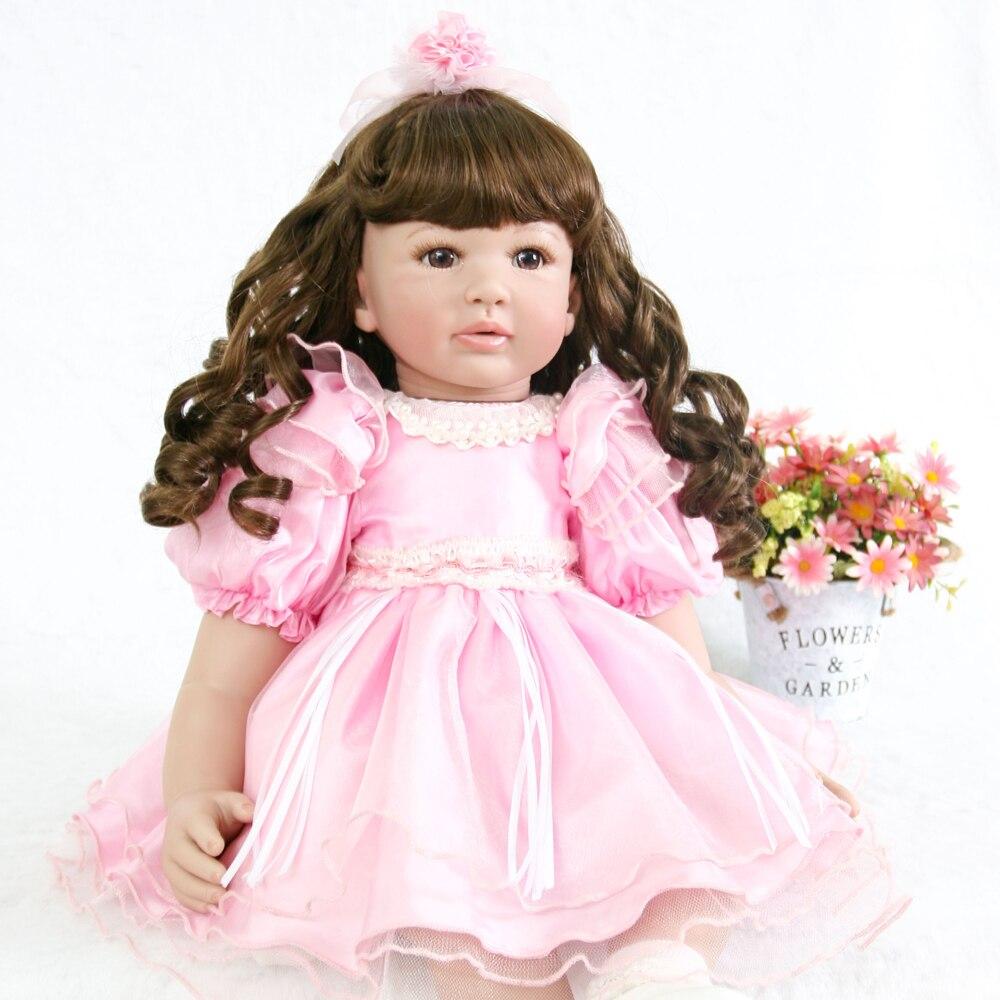 59 cm bébé reborn Silicone poupées, réaliste bouclés cheveux poupée reborn mignon rose princesse costume ethnique poupée fille vacances cadeau jouets