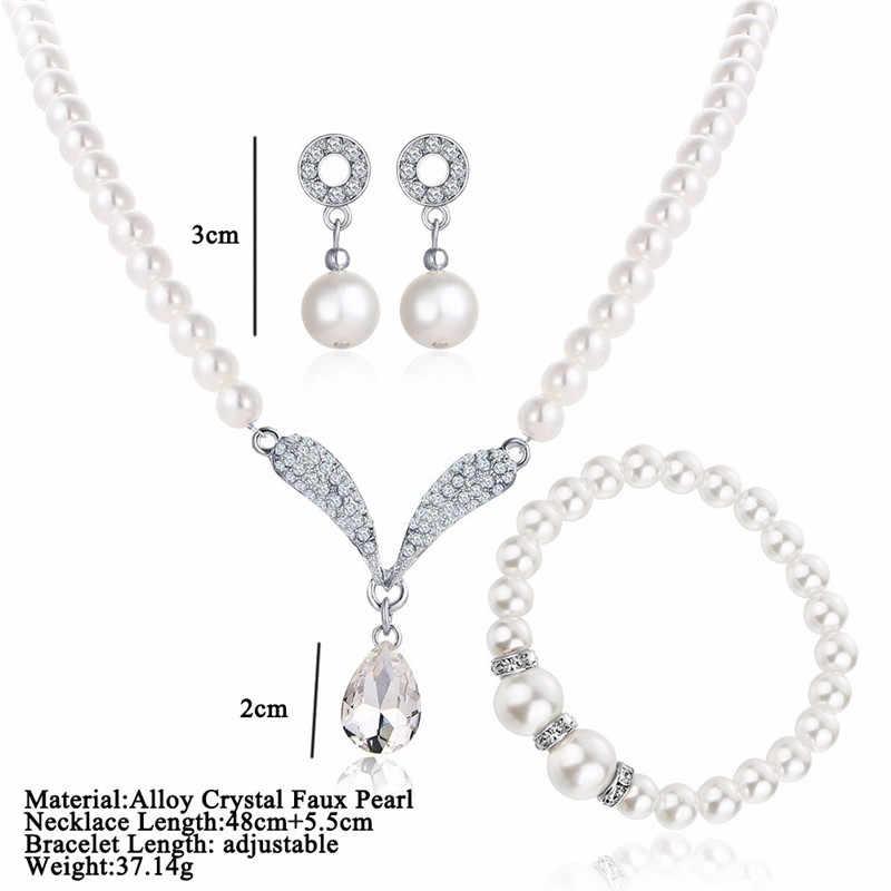 Imitation Perle Wasser Tropfen Schmuck Sets Halskette Silber Farbe Kristall Ohrringe Armband für Frauen Hochzeit Aussage Bijoux Femme