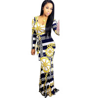 Vestido De Festa Celebrity Party Long Dress 2016 Women S Fashion Printed Autumn Long Sleeve Round