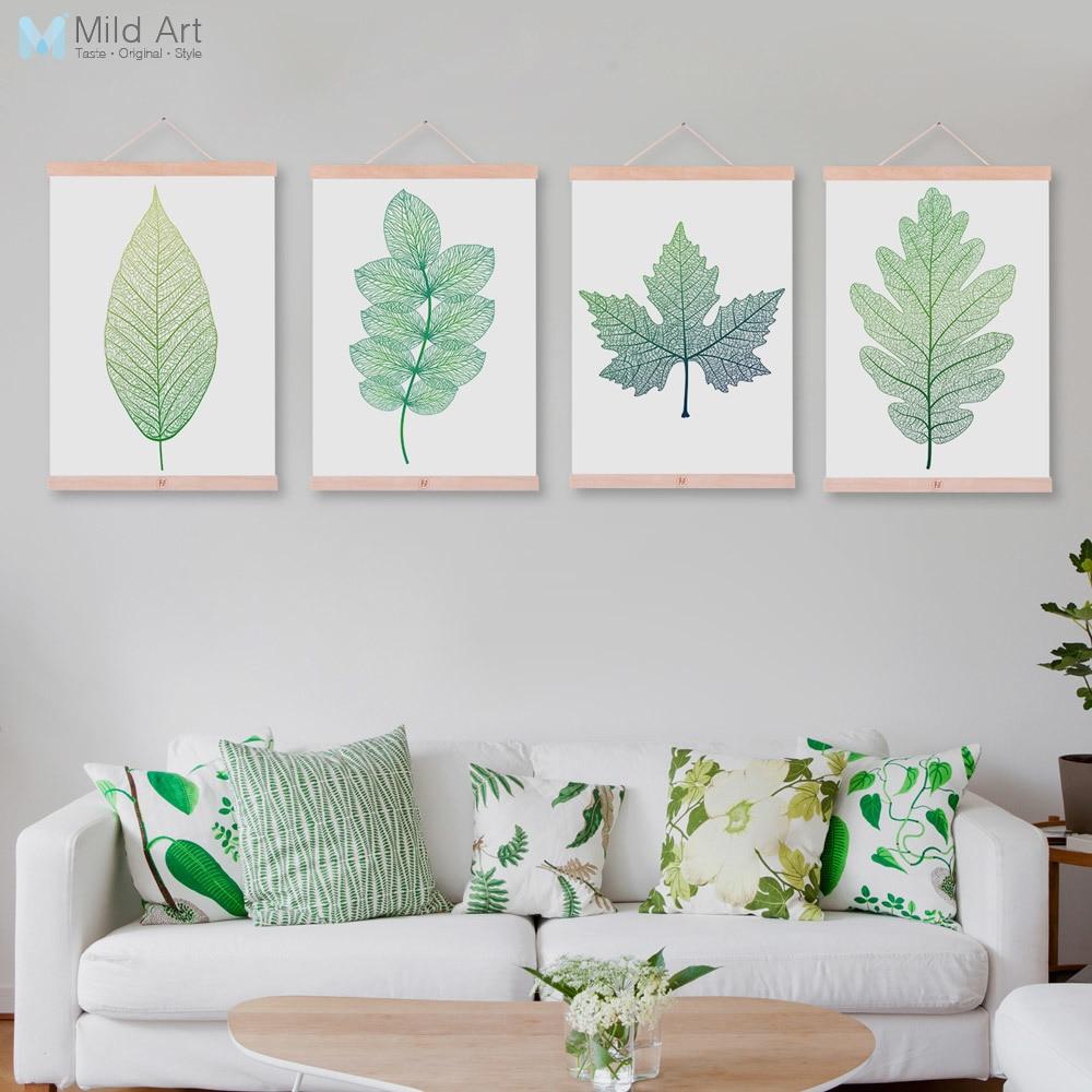 €7.28 47% de réduction|Moderne abstrait vert plante feuille en bois encadré  toile peinture belle fille chambre maison déco mur Art imprimer photo ...