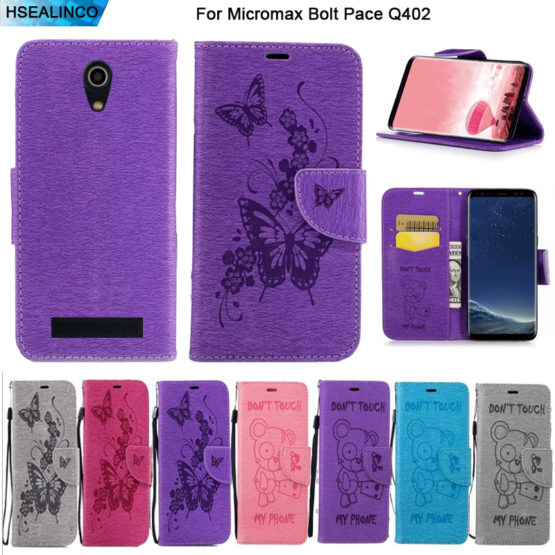 Wallet Case For <font><b>Micromax</b></font> Bolt Pace <font><b>Q402</b></font> PU Leather Magnetic Embossing Card Slots and Stand Holder Cover with Lanyard image