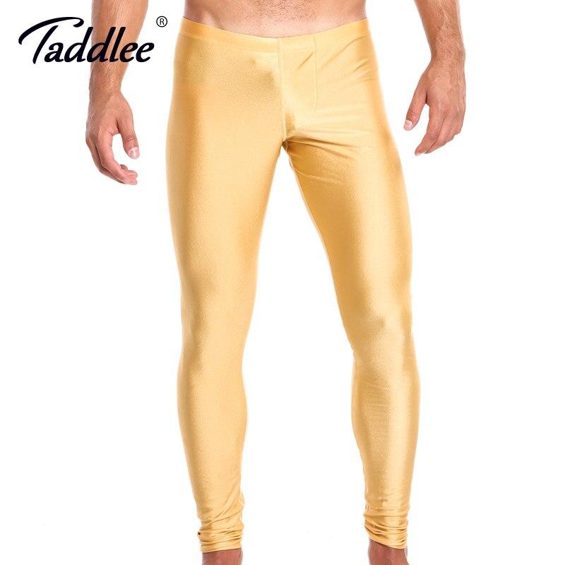 Taddlee Marca Legging Sexy Men Cintura Baixa Spandex Calças Compridas Homem Calças Justas Alta Estiramento Bottoms Jogger Sweatpants Treino Ativo Novo
