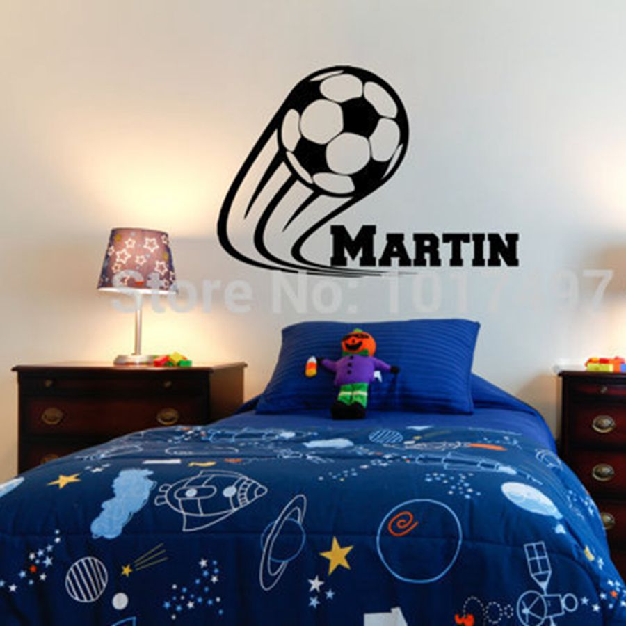 Vinyl Soccer Football Wall Decals Personalized Name Kids
