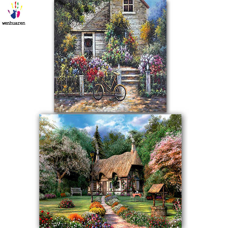 DIY colorings pictures by numbers with colors Beautiful house picture drawing painting by numbers framed Home