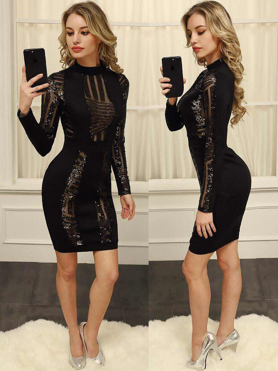 New Arrivals 2017 Fall Black Stylish Women Sequin Dress Bandage Bodycon Long Sleeve Sexy Mesh Evening Party Dresses