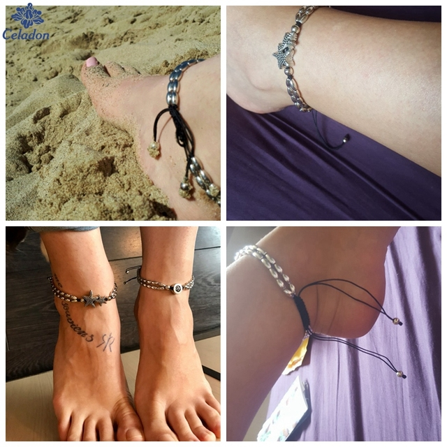 Hot 1PCS Summer Beach Starfish Anklet Vintage Ankle Bracelet For Women Buddha Foot Jewelry Summer Barefoot Beach