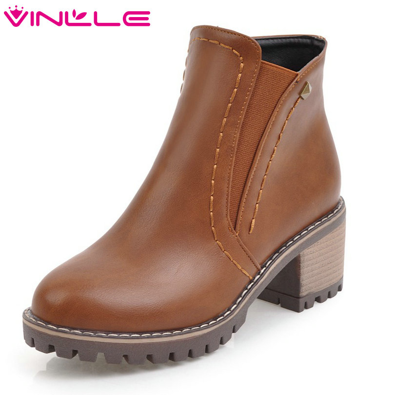 VINLLE 2018 Women Boots Shoes Ankle Boots PU leather Square High Heel Round Toe Zipper Rivet Ladies Motorcycle Shoes Size 34-43