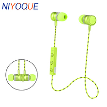 NIYOQUE Metal Sports Bluetooth 4.1 Earphone Wireless Earbud Stereo Headset With Mic for xiaomi huawei phone for iPhone X 8