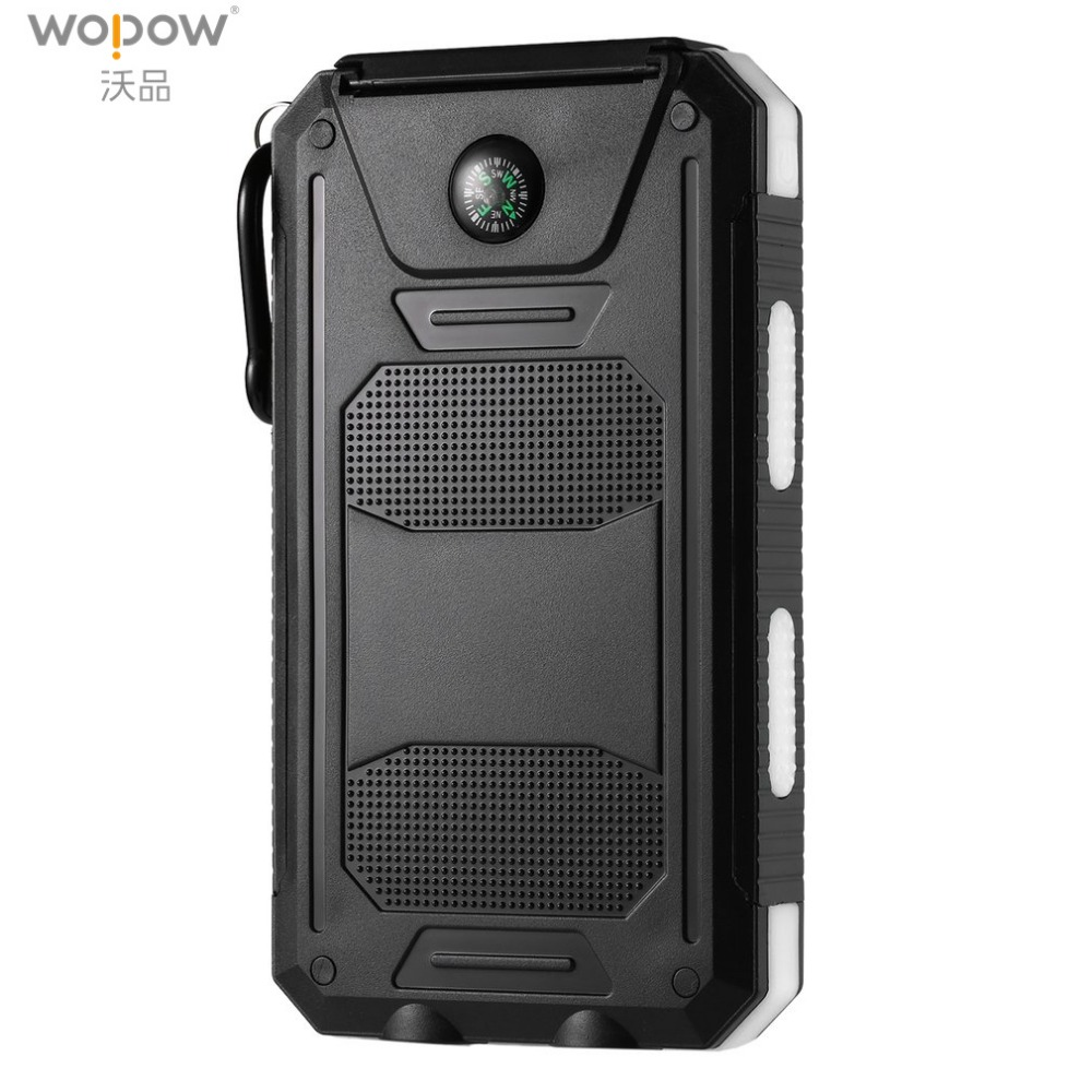 Wopow Solar Power Bank 20000 mAh Portable Dual USB charge powerbank powerful LED Light External Battery