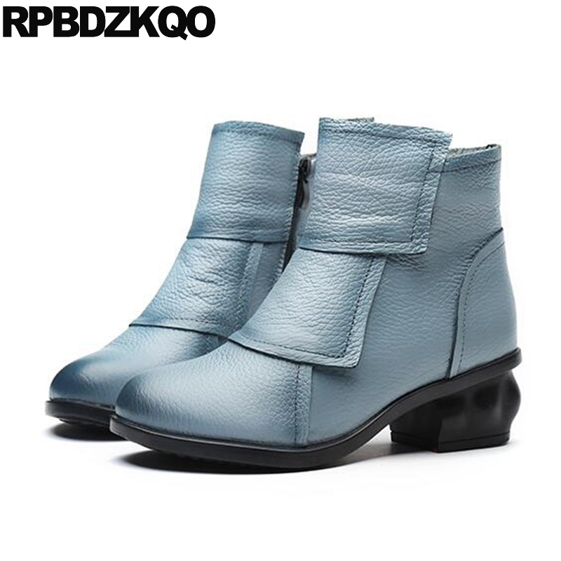 Chinese Shoes Short Blue Women Ankle Boots Medium Heel 2017 Fur Round Toe Chunky Cheap Waterproof Winter Fashion New Female chinese high heel short chunky shoes autumn booties women ankle boots 2016 round toe 2017 fall suede brown ladies female new