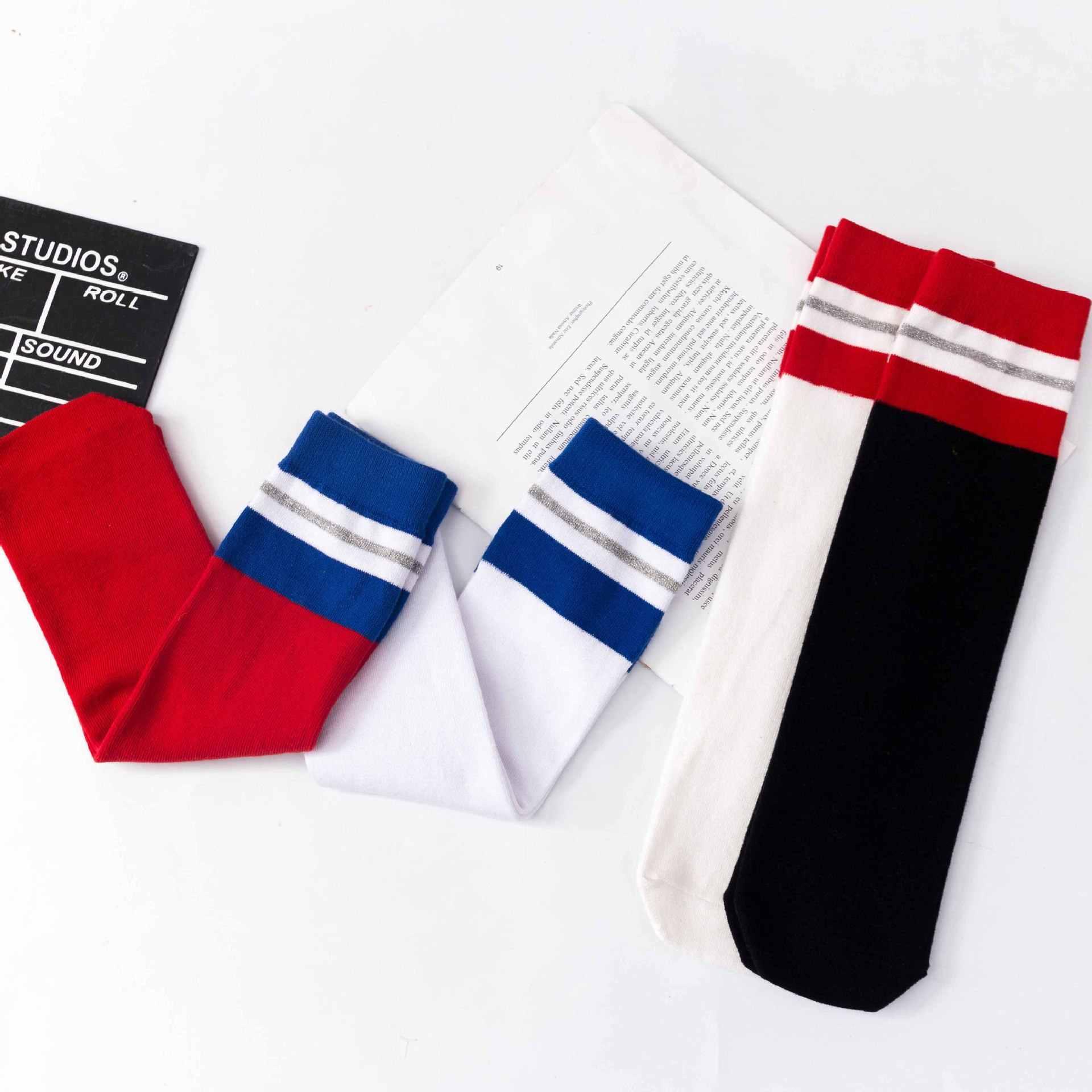 Crianças joelho meias altas meninas meninos listras de futebol algodão esportes escola branco meias skate crianças bebê longo tubo perna quente 4829