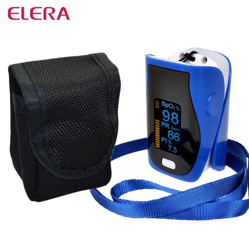 ELERA New Portable Finger Pulse Oximeter Oximetro de dedo digital WITH CASE SPO2 PR PI Pulsioximetro Health Care