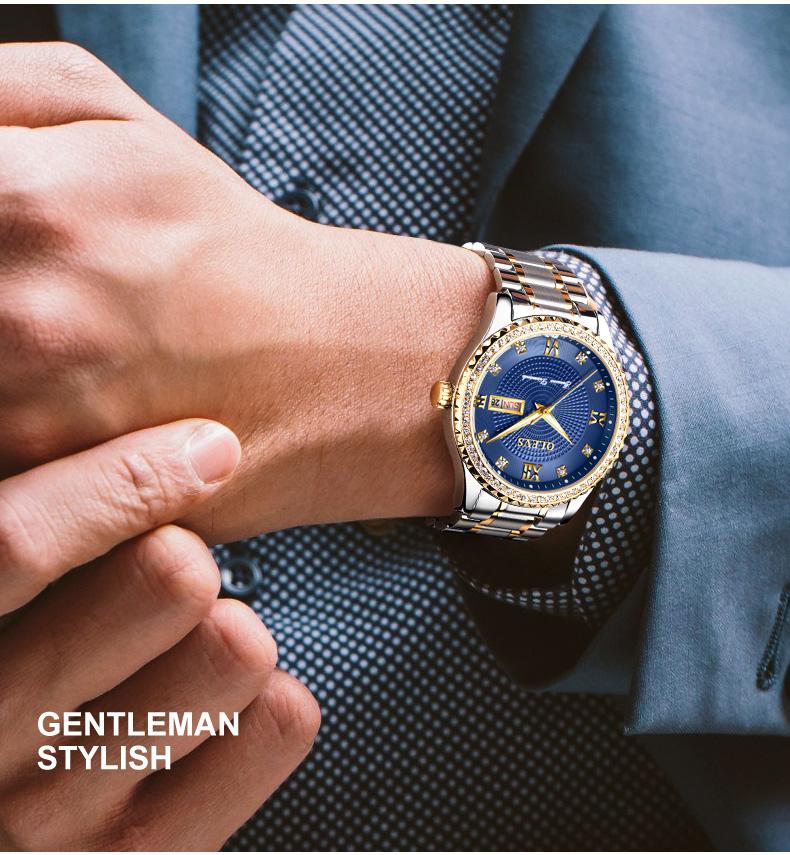 2018 OLEVS Luxury Brand Watch Men's Analog Quartz Auto Date Watches Man Waterproof Clock Men Sport Stainless Steel Wrist Watch 8