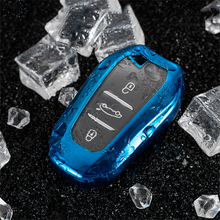 Soft TPU Car key case  Smart Remote Key cover shell fit for Peugeot 3008 4008 5008 Citroen C4 C4L C6 C3-XR Accessories Keychain