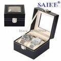 Nueva Negro 2 Rejillas de Reloj de Cuero Caja de Presentación Top Quanlity PU caja de Almacenamiento de reloj Caja de Embalaje Caja de Regalo de Lujo Caja de Reloj Sólido D087